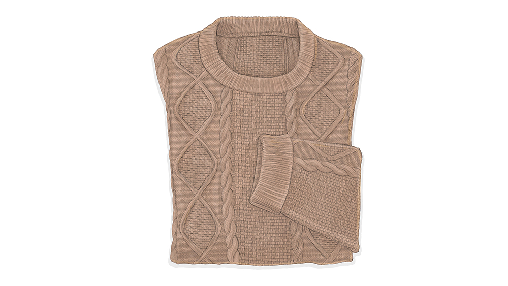 A cable-knit sweater.