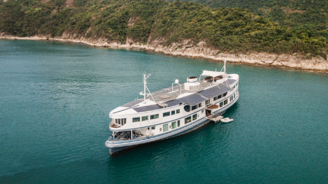 Dot was a ferry around Hong Kong that has been transformed into a Superyacht