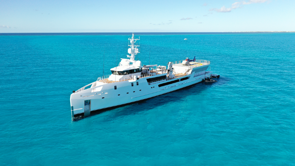 The 227-foot Gamechanger is an expedition yacht with the world's best dive center and submersible on a superyacht