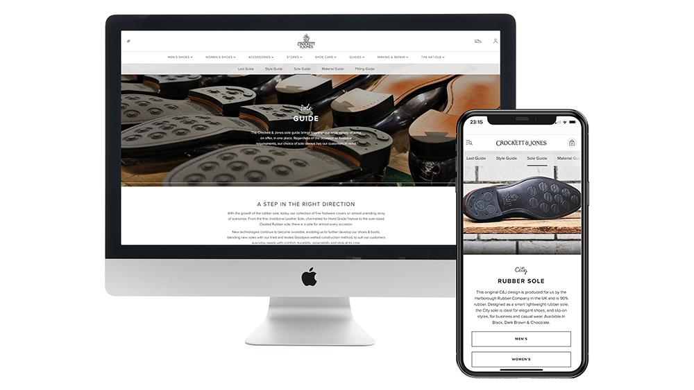 The sleek desktop & mobile interfaces of Crockett & Jone's new e-commerce platform.