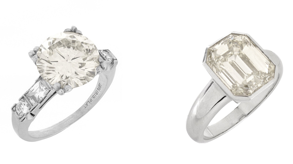 4.38-carat round brilliant-cut diamond ring; a 5.08-carat emerald cut ring
