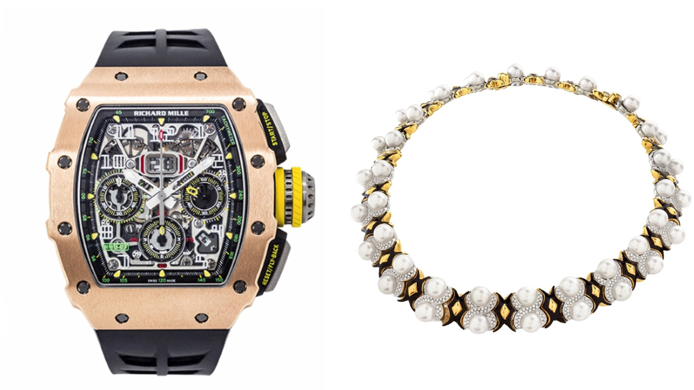 Orianne Collins' Richard Mille RM 11-03 and Diamond and Pearl Necklace