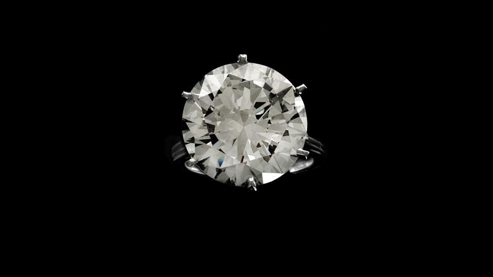 A 15.37-carat round brilliant-cut diamond ring