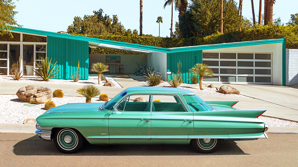 The fins of this 1961 Cadillac Sedan de Ville are a perfect complement to the dramatic butterfly roof of this Palm Desert dwelling penned by Palmer & Krisel.