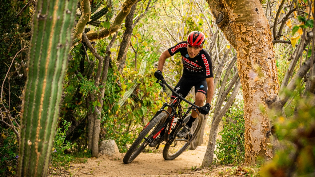 Local pro mountain-bike racer Joel Ramirez frequently trains on the trails that lace the ranch
