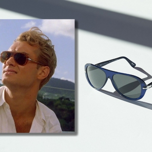 "Jude Law wearing the 3260S in ""The Talented Mr. Ripley"" and the limited edition blue colorway."