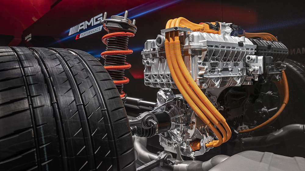The AMG E Performance hybrid powertrain's electric drive unit