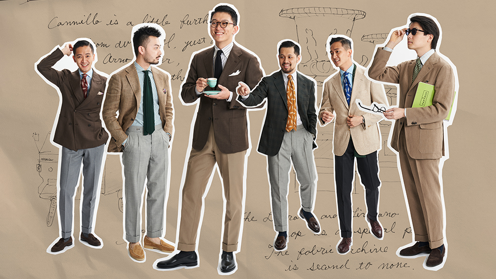 An assortment of neutral tailored looks from The Armoury's spring look book.