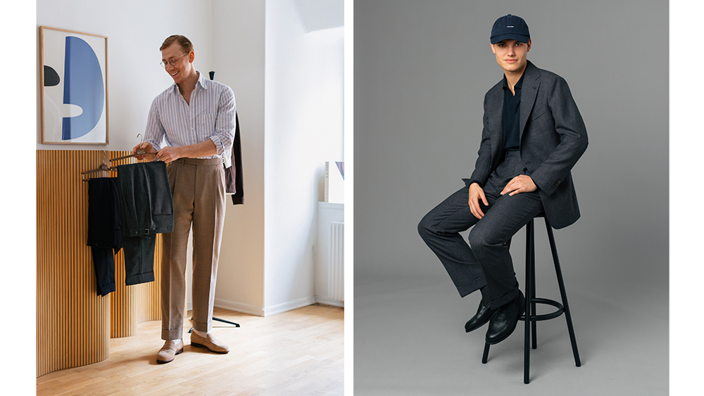 Berg & Berg designer Andreas Larsson and a look from his spring collection.