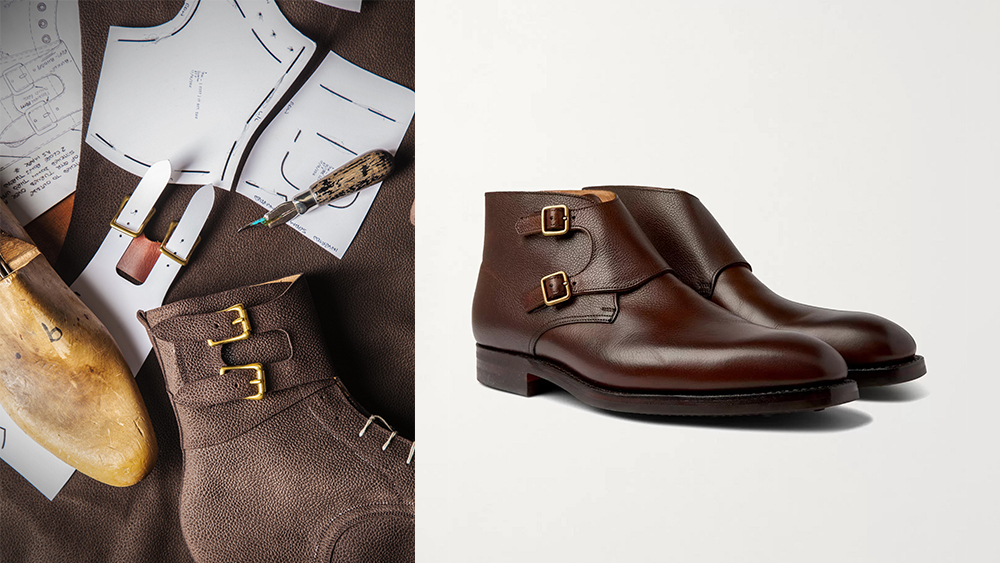 A boot in progress and one of the brand's new casual designs, monk-strap boots in pebble-grained leather ($825).