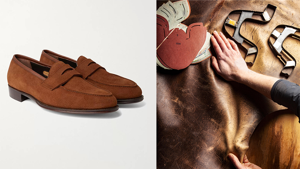 Loafers featuring Cleverley's proprietary grained suede ($750).