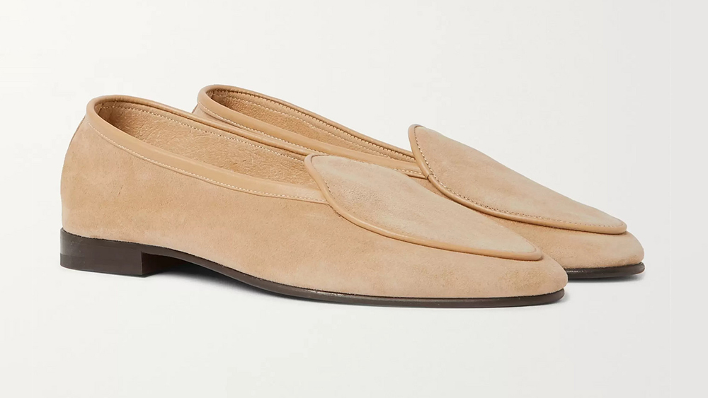 """George Cleverley """"Hampton"""" unlined suede loafers ($495)."""