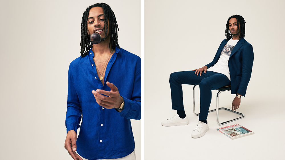 Coconut Residence's signature Nehru-collared shirt ($170) and linen house suit (jacket, $417, and trousers, $184).