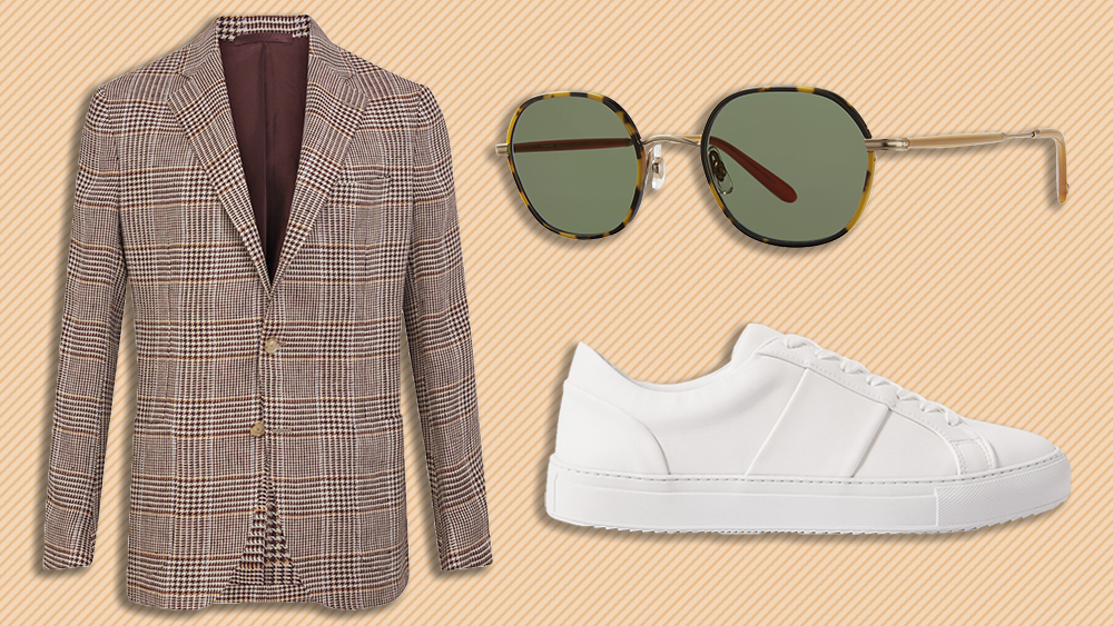 De Petrillo blazer, Garrett Leight sunglasses, Mr P. sneakers