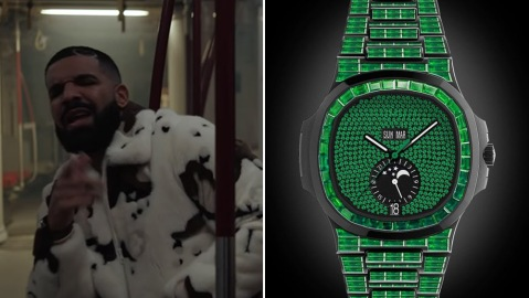 """Drake and his Virgil Abloh-customized Patek Philippe Nautilus in the """"What's Next"""" video"""