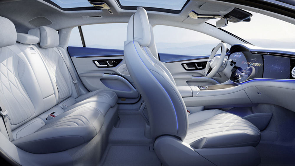 The interior of the Mercedes-Benz EQS