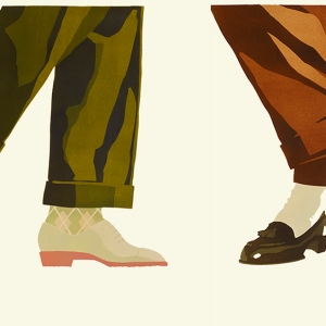 Two Fab Gorjian menswear illustrations.