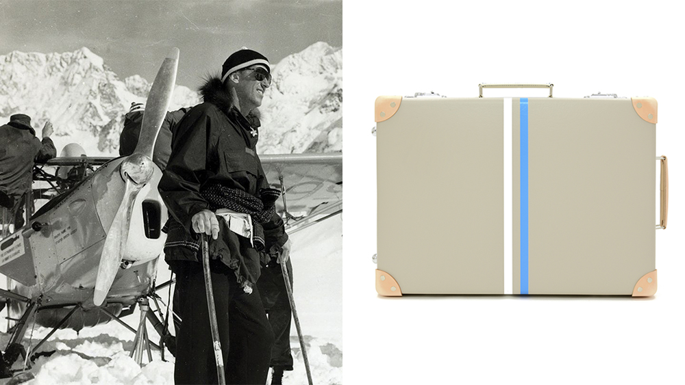 Sir Edmund Hillary brought Globe-Trotter luggage to Mt. Everest; the 'Albion' carry-on from the spring collection (£1,455).