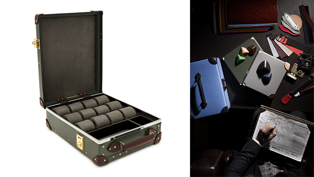 One of the recently introduced watch cases (£1,975); behind the scenes of Globe-Trotter's bespoke service.