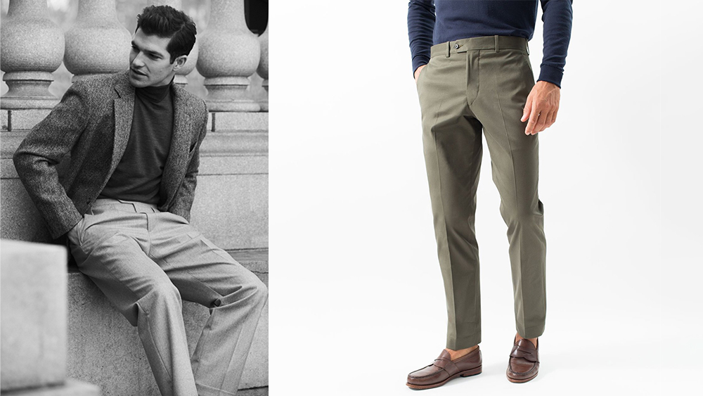 Hertling's Super 130s wool gabardine trousers ($328) and stretch cotton chinos (currently $128).
