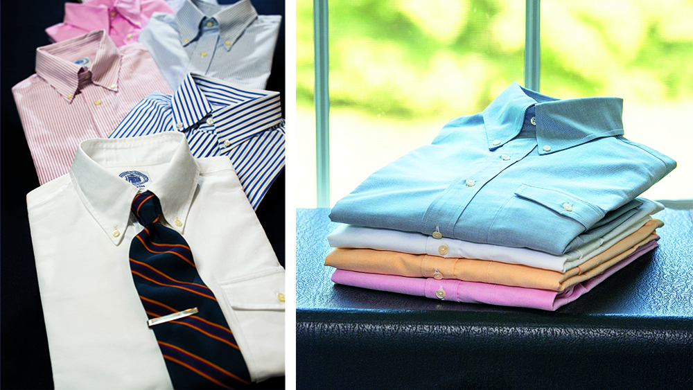 Examples of J. Press's signature oxford cloth button-down shirts.