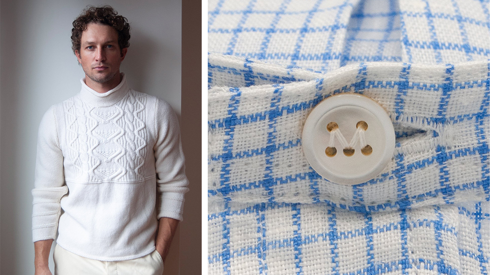An Aran sweater ($395) and band-collared shirt ($225) from Maker & Company's collaborations.