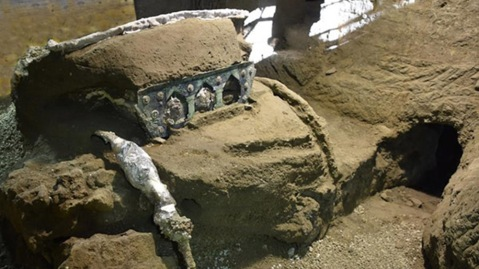 The ceremonial chariot discovered in the ruins of Pompeii