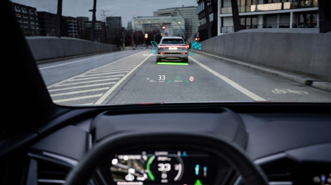 The Audi Q4 e-tron's augmented-reality head-up display