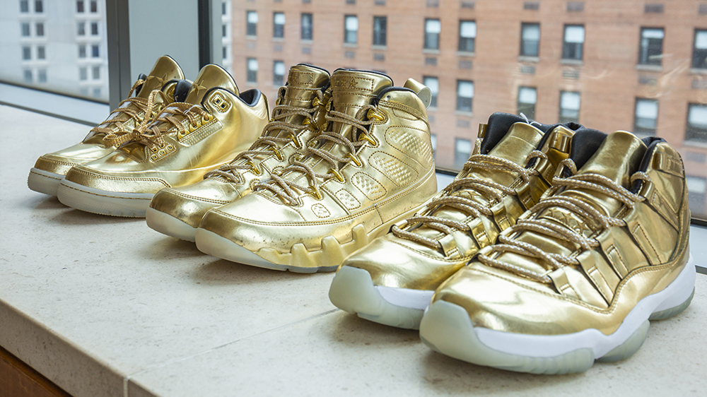 The Air Jordans 3, 9 and 11 in gold