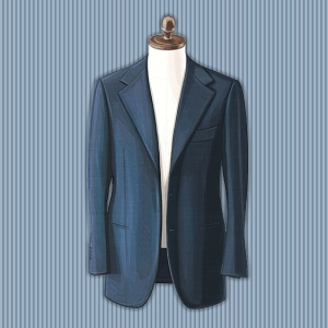 An illustration of a blue blazer.