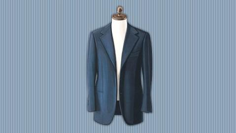 An illustration of a blue blazer.