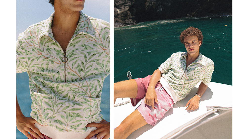 One of William Morris's botanical prints on the new Earth cabana shirt ($128).