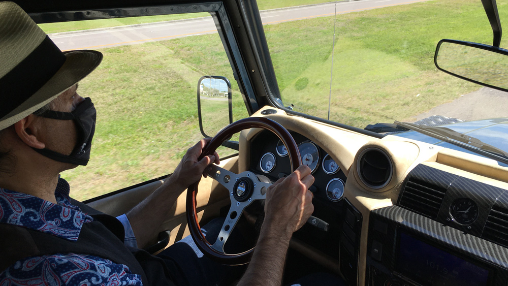 Piloting the all-electric Range Rover Classic on the roads of Kissimmee, Fla.