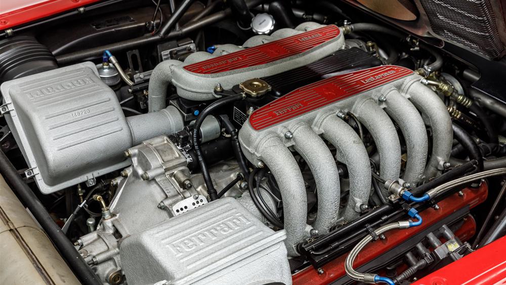 The 4.9-liter, DOHC flat-twelve engine inside a 1993 Ferrari 512 TR.