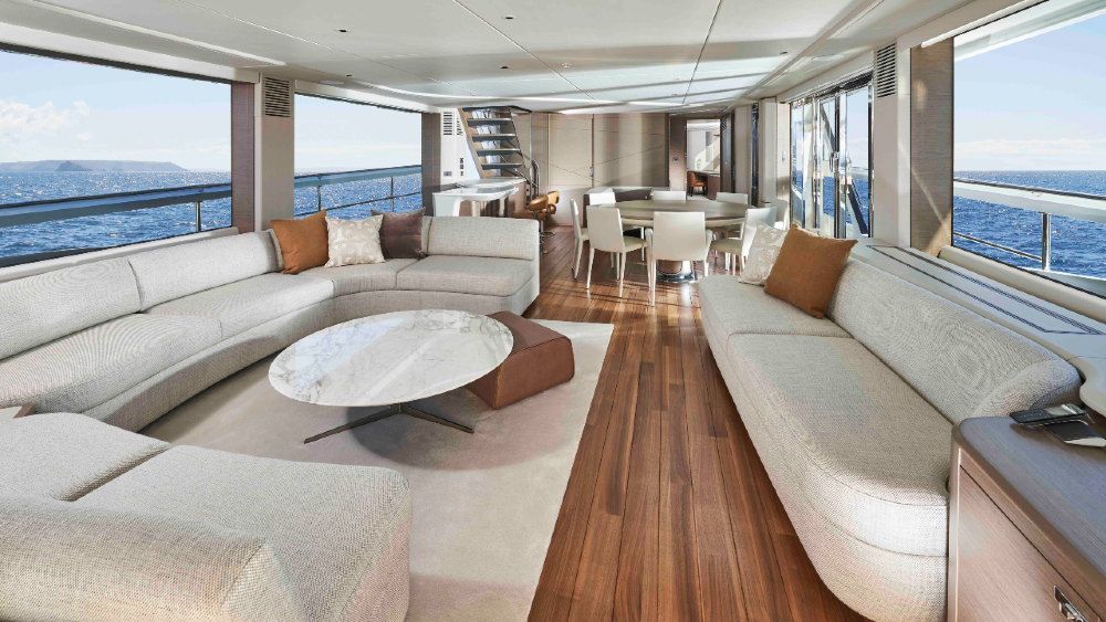 The Princess X95 from the UK has more space than a much larger yacht thanks to its design by Pininfarina