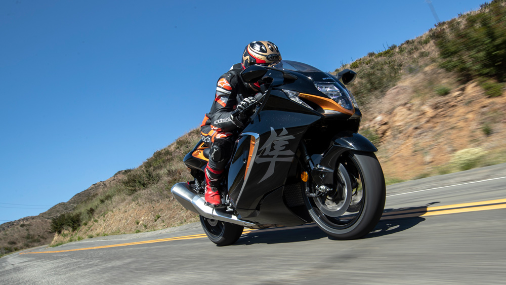 Riding the 2022 Suzuki Hayabusa motorcycle.