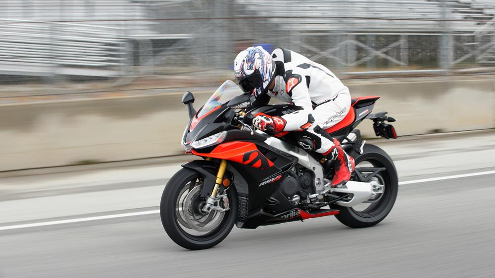 Test-riding the 2021 Aprilia RSV4 Factory motorcycle at WeatherTech Raceway Laguna Seca.