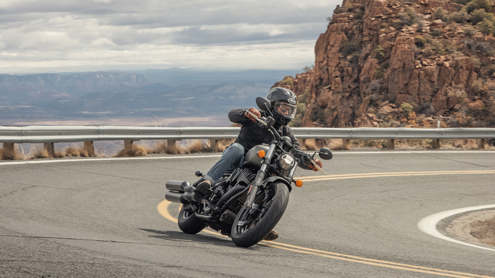 Riding the 2022 Indian Chief motorcycle.