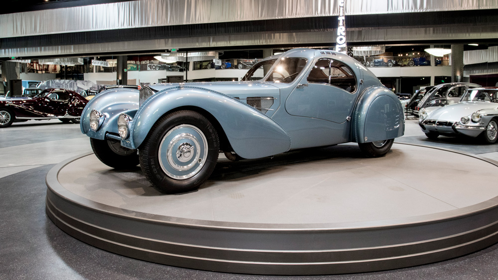 One of only three remaining examples of the Bugatti Type 57SC Atlantic is on display at the Mullin Automotive Museum in Oxnard, Calif.