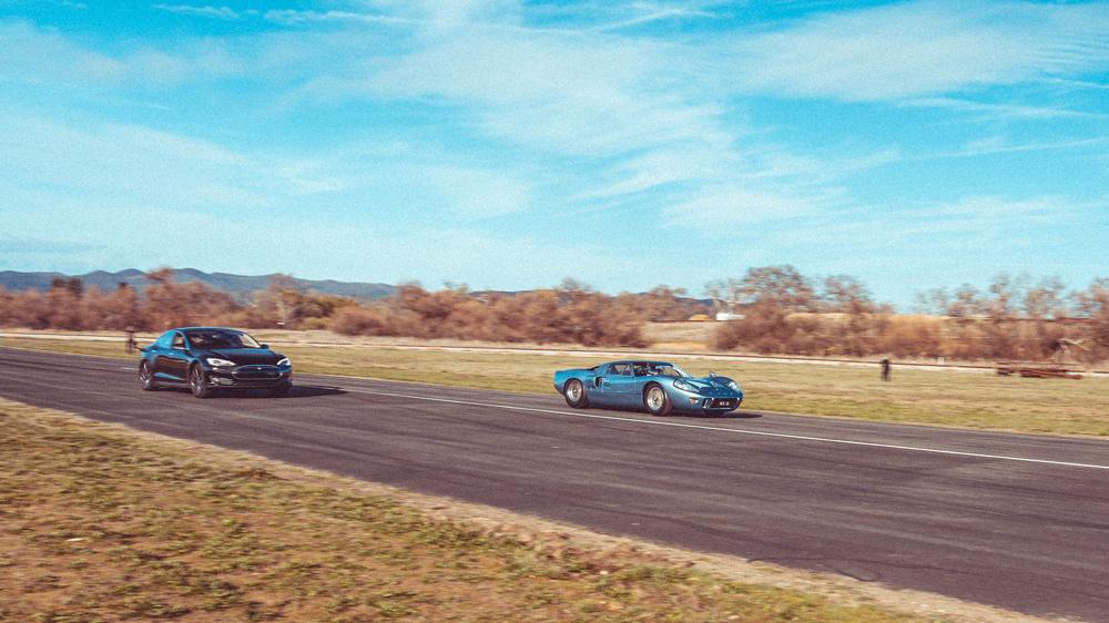 An original Ford GT40 races a Tesla Model S at Central California's Santa Margarita Ranch airstrip.