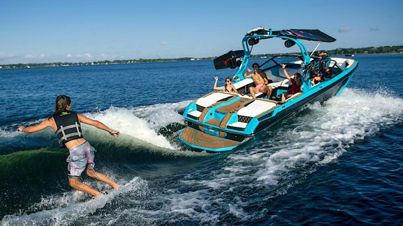 This electric boat is the first wake-surfing boat with battery power.