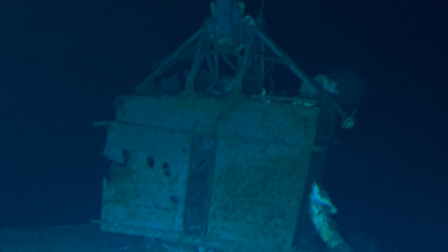 USSV Pressure Drop, a Triton submersible, dives to the lost wreck of USS Johnson