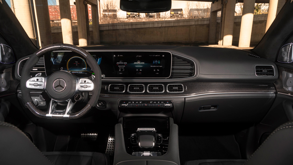 A look at the interior of the 2021 Mercedes-AMG GLE 63 S Coupe.
