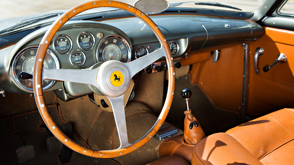 The interior of an unrestored example of the 1955 Ferrari 250 Europa GT.