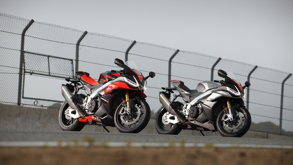 The 2021 Aprilia RSV4 Factory (left) and RSV4 (right) motorcycles.