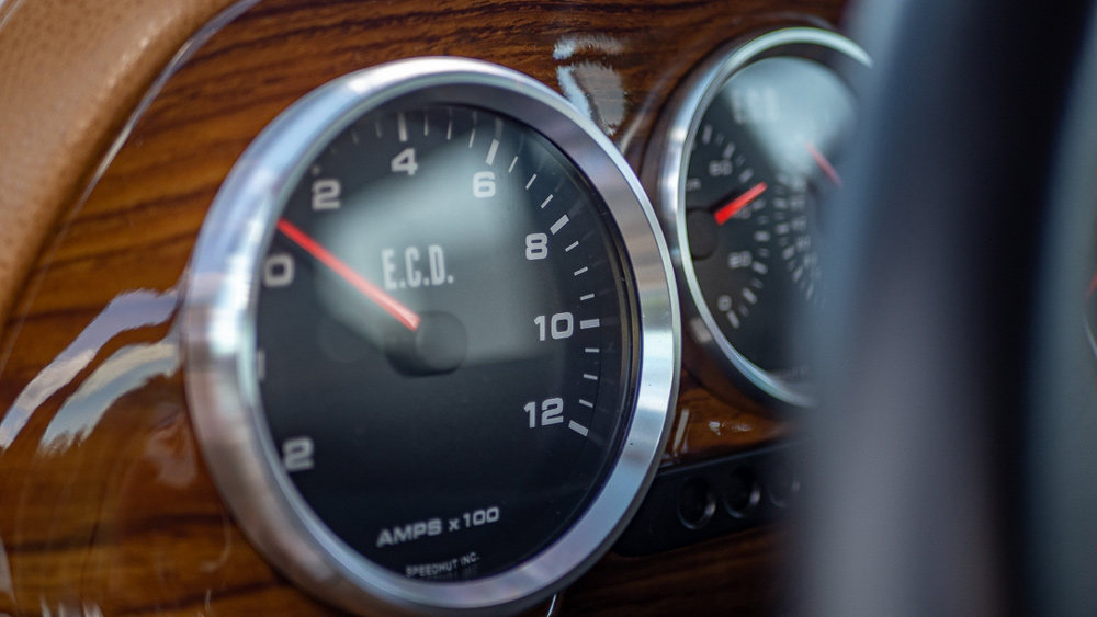 A gauge on the dash of E.C.D. Automotive Design's all-electric Range Rover Classic.