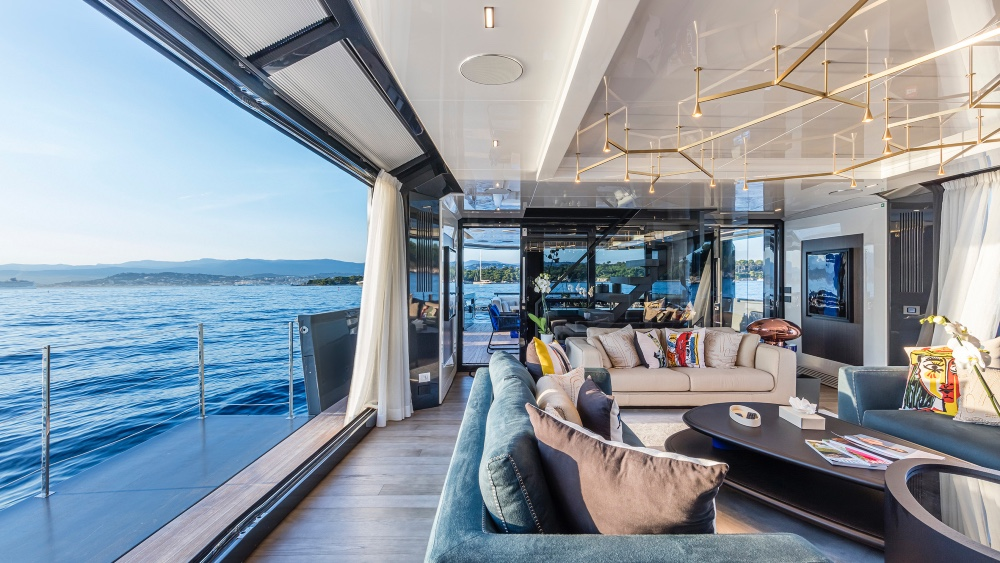 the 105-foot Arcadai Sea Coral 2 has 15 Italian design brands spread across its different areas