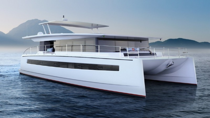 Silent Yachts has 42 solar panels to help recharge its batteries to run the yacht.