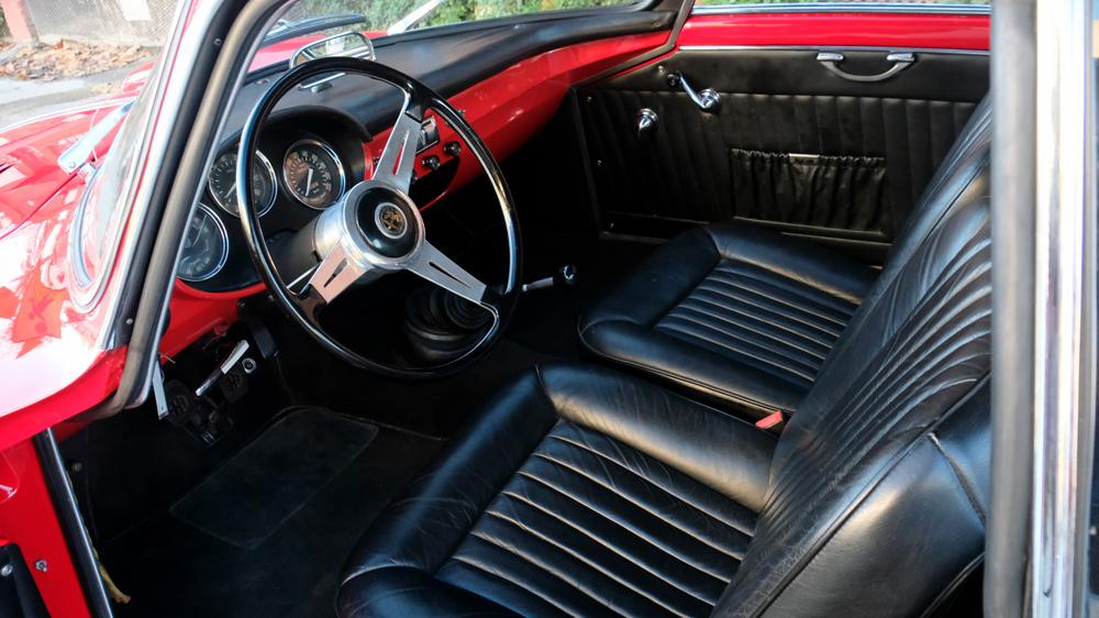 The interior of a 1962 Alfa Romeo Giulietta Sprint Speciale.