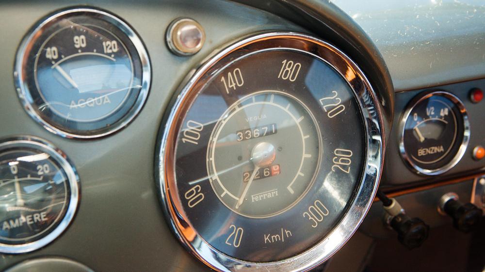 The interior gauges of an unrestored 1955 Ferrari 250 Europa GT.